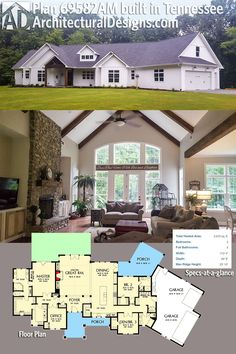 Our client built Architectural Designs House Plan 69582AM in Tennessee with board and batten siding giving it a bit of a farmhouse look.Ready when you are. Where do YOU want to build?Specs-at-a-glance 3 beds 3 baths 2,900+ square feet