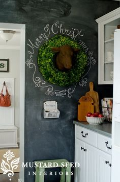 Wreath and merry go round writing on chalkboard wall; I love the idea of a chalkboard wall in the kitchen! Christmas Love, All Things Christmas, Winter Christmas, Christmas Crafts, Christmas Decorations, Holiday Decor, Xmas, Diy Interior, Chalkboard Art