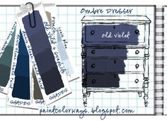 COLORWAYS Shades of Old Violet. Mixing Graphite with Old Violet will make Shades. Idea for dresser in Ombre shades of Annie Sloan Chalk Paint, Old Violet. Antique Furniture Restoration, Refurbished Furniture, Rustic Furniture, Color Washed Wood, Ombre Paint, Greek Blue, Chalk Paint Colors, Chalk Paint Furniture, Redoing Furniture