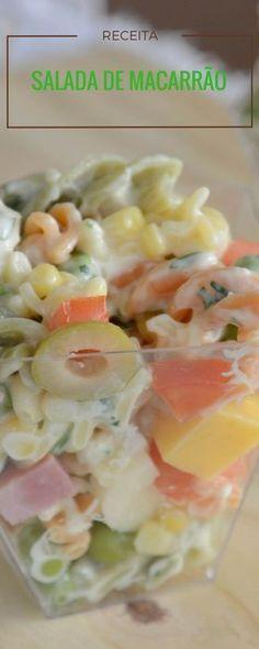 Receita fácil de salada de macarrão colorida
