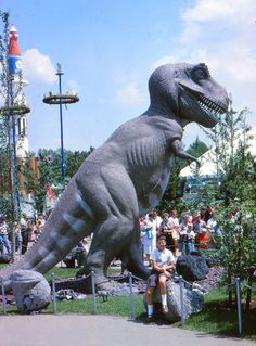 "A photo of Tyrannosaurs Rex exhibit from the 1964 World's Fair. Credit: Gary W. Clark. Read more on the GenealogyBank blog: ""1964 World's Fair: History, Photos & Memorabilia."" http://blog.genealogybank.com/1964-worlds-fair-history-photos-memorabilia.html"