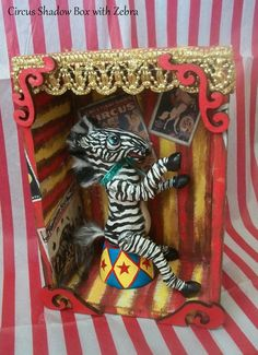 APRIL Clearance Sale  Circus Zebra Shadow Box by SixLegDeer, $52.00