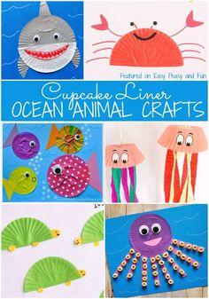 Preschool Ocean Animal Cupcake Liner Crafts – Easy Peasy and Fun - Preschool Children Activities Sea Animal Crafts, Animal Crafts For Kids, Toddler Crafts, Art For Kids, Ocean Animals For Kids, Paper Animal Crafts, Toddler Art, Cupcake Liner Crafts, Cupcake Liners