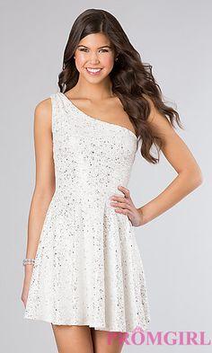 One Shoulder Short Glitter Dress at PromGirl.com omg I really love this dress