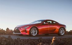 Download wallpapers Lexus LC 500, 2018, 4k, sports coupe, orange LC, sports car, Japanese cars, Lexus