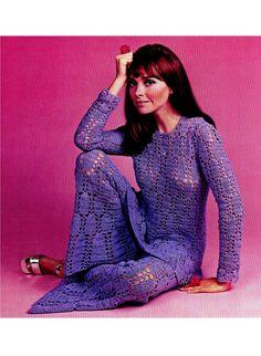 Vintage 70's Crochet Blouse & Bell Bottom Pants por KinsieWoolShop