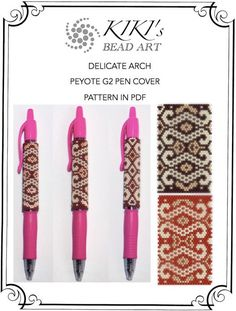 Peyote pen cover patterns- delicate arch peyote patterns, set of 2 for pen wrap for G2 pen by Pilot-in PDF instant download