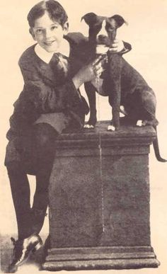 """Fred Astaire famous Hollywood star at age 10 wearing his """"Buster Brown"""" collar and shoes, holding his famous dog """"TIGE"""""""