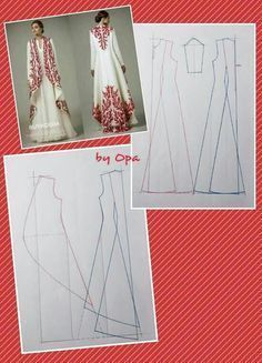 Gorgeous embroidered floor length swing coat and pattern Fashion patternDraft of clothsSomething like this for the swans - instead of red, use blackCoffee models - Do it Yourself likes 1 comments Coat Patterns, Dress Sewing Patterns, Clothing Patterns, Pattern Cutting, Pattern Making, Fashion Sewing, Diy Fashion, Sewing Clothes, Diy Clothes