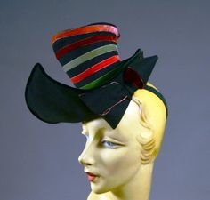 CHARMING WHIMSY! 40'S VINTAGE TILT TOPPER TOY HAT - BANDED CROWN - WILD WING BRIM - AVAILABLE FOR SALE AT RPVINTAGE.COM