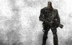 Preview wallpaper terminator, robot, cyborg, weapons