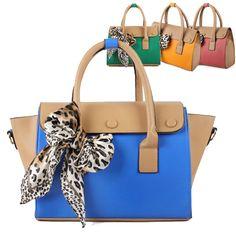 Ladies Leopard Scarf Contrast Tote Cute Purse Faux Leather Bag Shoulder  Gore Tex Jacket 4cb399571c447