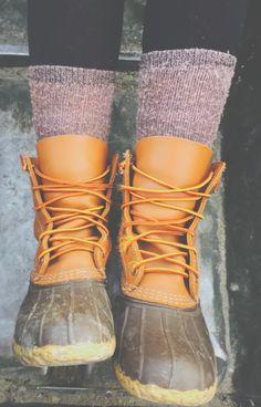 winter socks + duck boots