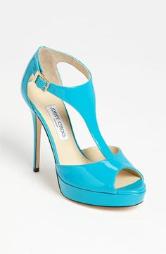 totem t-strap sandal [in turquoise]   jimmy choo.