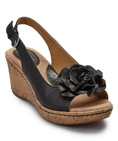 Look what I found on #zulily! Black Blossom Leather Slingback Wedge Sandal by b.o.c #zulilyfinds