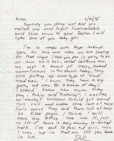 Dre's letter to his wife (then girlfriend back in 95).  He mentions the beginning of California Love with Tupac.  Great read!