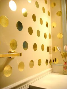 Gold Dot Powder Room - this pin actually goes to the page about creating it!