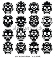 halloween mexican sugar skull dia de los muertos cartoon icons by redkoala - Mexican Halloween Skulls
