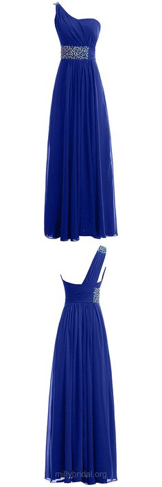 Royal Blue Prom Dresses Long, A-line Prom Dresses One Shoulder, Chiffon Prom Dresses Beading, Sexy Formal Dresses Unique