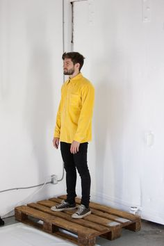 yellow shirt? corduroy…medium.