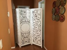 Featuring intricate floral medallion motif inspired by gardens in Bangalore, our Zaria screen is hand carved by artisans in India. Panel Room Divider, Vanity Set With Mirror, Whitewash, World Market, Hand Carved, Artisan, Carving, Wood, Floral