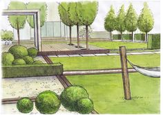 Aranżacja zieleni garden plan дизайн сада, дизайн и сад. Landscape Sketch, Landscape Architecture Design, Garden Drawing, Garden Art, Garden Ideas Long, Patio, Backyard, Floating Deck, Garden Design Plans