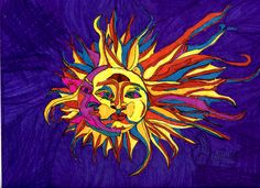 Wild ☼ Sun & Moon ☾ -watercolor paper Uniball vision elite Color Sharpies I want to do ☼ Sun & Moon ☾ carving and I am trying to work out some thoughts.