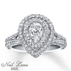 Neil Lane. Pear. Double Halo. White Gold. Kay Jewelers. This one THE one.