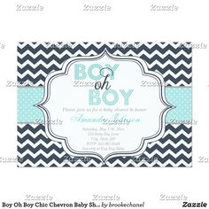 Boy Oh Boy Chic Chevron Baby Shower Invitation Adorable way to honor an parent-to-be!