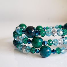 Items similar to Greeny Blue Swarovski Crystal and Chrysocolla bracelet on Etsy Swarovski Crystals, My Etsy Shop, Beaded Bracelets, Trending Outfits, Unique Jewelry, Handmade Gifts, Blue, Accessories, Vintage