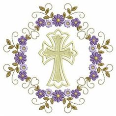 Wind Bell Embroidery Embroidery Design: Cross And Flowers 3.80 inches H x 3.80 inches W
