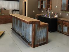 LARGE Rustic Barnwood Bar with barn tin— Dimensions Bars are tall in the back (working serving area), in the front (seating drinking area), Width base, 6 in overhang) Bar Lengths will vary depending on your specific needs see variat Rustic Kitchen, Rustic Furniture, Outdoor Kitchen, Barn Tin, Bar Furniture, Rustic Bar, Bars For Home, Bar Chairs, Rustic Kitchen Cabinets