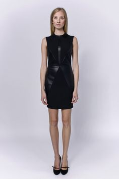 Allegretto little black dress combined with artificial leather | LACCA Fashion
