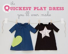 Tutorial: Quickest Toddler Play Dress - uses an adult t-shirt and a girl's shirt that fits as the pattern