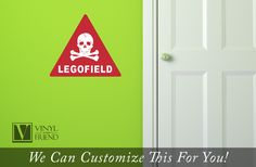 LEGOFIELD danger sign with skull and bones - wall decal vinyl graphic printed 2321 by Vinylisyourfriend on Etsy