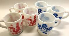 Vintage Retro Mid Century Modern Hazel Atlas Milk Glass Coffee Mugs/Cups Red Rooster or Blue Flower Design ***BUYER'S CHOICE*** Set of Three by YatsDomino on Etsy