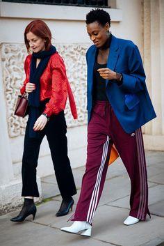 Right: Ellery top, Toga jacket, Alexander Wang x Adidas pants, Dorateymur shoes, Loewe bag.