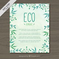 #Ecological #Template that I have designed for #Freepik #Leaves #HanddrawnStyle #Green #Eco #ElegantDesign #GraphicDesign #Elegant #Watercolour #Watercolor #WatercolourLeaves #WatercolourStyle