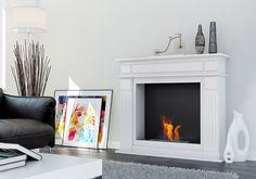 White modern interior with biofireplace NOVEMBER