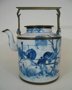 Chinese antique blue and white porcelain teapot, 18th century.  love!