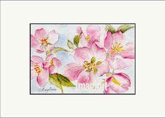 Original Miniature Painting in Watercolor  Pink Dogwood