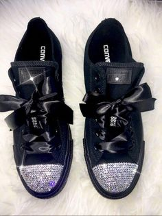 a888a58cbc7a Swarovski Crystal Custom Converse In Black With Beautiful Swarovski  Crystals - women s bling sneakers wedding Converse Chuck Taylor All Star