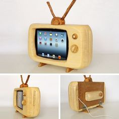 iPad Monitor de TV de madera.