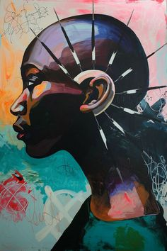 Discover recipes, home ideas, style inspiration and other ideas to try. Black Art Painting, Black Artwork, Art And Illustration, Kunst Inspo, Street Art, Urbane Kunst, African Art Paintings, Atelier D Art, Africa Art