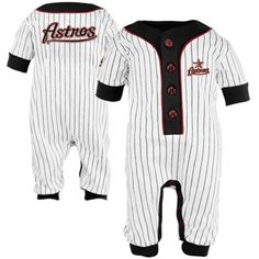Majestic Houston Astros Infant Pinstripe Logo Coveralls - White