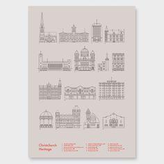 Christchurch Heritage Art Print by Hamish Thompson - Giclee Prints NZ Art Prints, Art Framing Design Prints, Posters & NZ Design Gifts | endemicworld