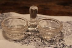 French Vintage Glass Salt and Pepper Holders, Salt Pepper Cellars, Tea Light Holders