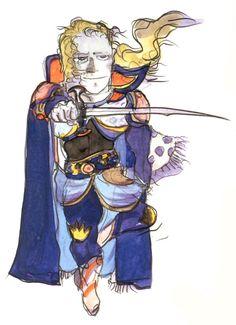 Final Fantasy VI - Edgar [Chibi] Concept Art - Yoshitaka Amano