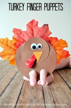 Fun Thanksgiving Finger Puppet Turkey Craft to make with younger children. Retell Thanksgiving stories, put on a play, keep kids entertained while waiting for Thanksgiving dinner! Toddler Crafts, Preschool Crafts, Fun Crafts, Decor Crafts, Thanksgiving Preschool, Thanksgiving Crafts For Kids, Thanksgiving Turkey, Thanksgiving Decorations, Thanksgiving History