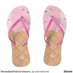 a53e3b24f9c010 Personalized Pink Ice Cream Cone Summer Flip Flops Flip Flop Shop